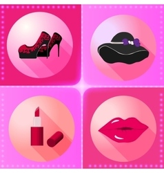 Flat women accesories icons vector