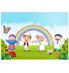 Happy little kid with rainbow vector