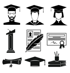 Graduation icons set vector