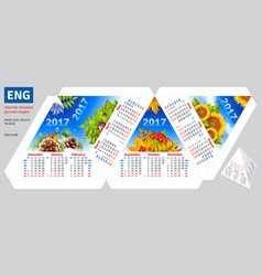 Template english calendar 2017 by seasons pyramid vector image
