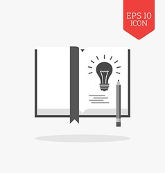 Book with lightbulb note the idea concept icon vector
