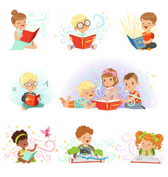 Adorable little boys and girls sitting and reading vector