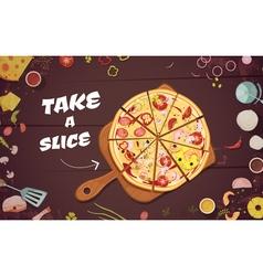 Advertising of pizza cartoon vector