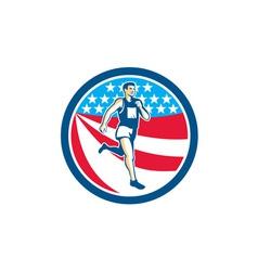 American Marathon Runner Running Circle Retro vector image vector image