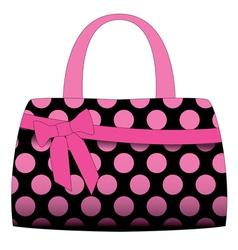 black handbag in pink polka dots vector image