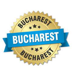 Bucharest round golden badge with blue ribbon vector