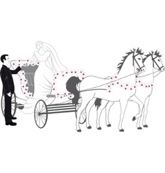 chariot with newlyweds vector image vector image