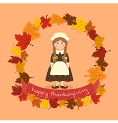 Circle autumn leaf thanksgiving braid girl vector