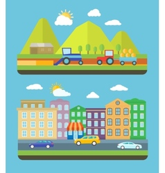 City and farm vellage vector