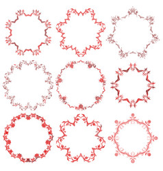 Decorative christmas red round frame set vector