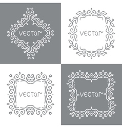 Floral outline frames and borders Monogram mono vector image vector image