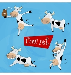 funny cartoon cow in various poses vector image vector image