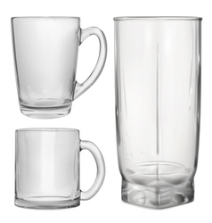Glass cups and glass for juice vector