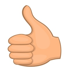 Hand showing thumbs up icon cartoon style vector
