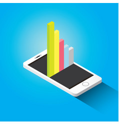 Isometric smartphone with graph and charts vector