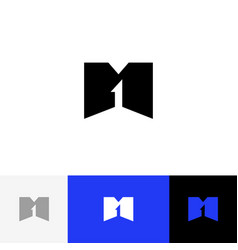 m 1 logo logo from letters m and one vector image