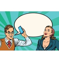 Male and female mobile phone dialogue vector image vector image