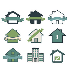 Real estate symbol house logos vector