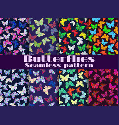 Seamless patterns with butterflies set vector