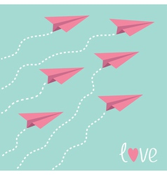 Six flying paper planes in the sky Love card vector image vector image