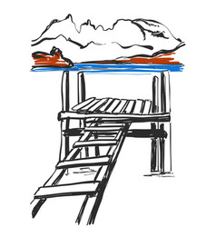 sketch of bridge hand drawn ladder landscape vector image