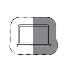 Sticker silhouette tech laptop computer icon vector
