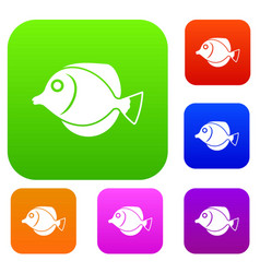 Tang fish zebrasoma flavescens set collection vector