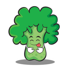 tongue out broccoli chracter cartoon style vector image vector image