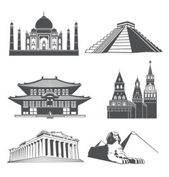 travel silhouette landmarks with famous world vector image