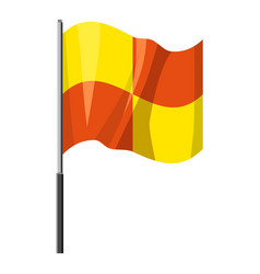Yellow and orange flag with flagpole icon vector