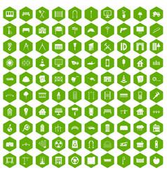 100 architecture icons hexagon green vector