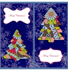Set of christmas cards with trees and snowflakes vector