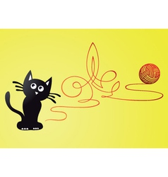 Kitten and wool ball vector