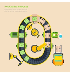 Packaging line top view poster vector