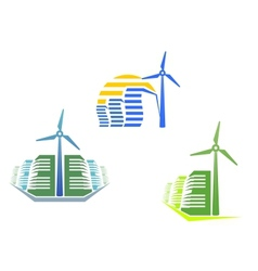 Houses with wind turbines vector