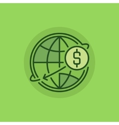 Transfer money green icon vector