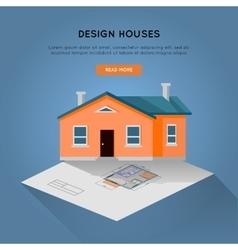 Design houses conceptual web banner in flat design vector
