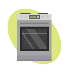 Stainless gas cooker with oven industrial metallic vector