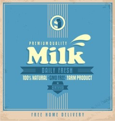 Daily fresh natural milk retro poster design vector