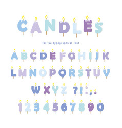 Birthday candles font design abc letters and vector