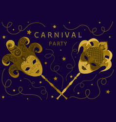 Carnival party card with two golden masks vector