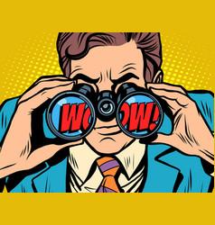 wow businessman looking through binoculars vector image