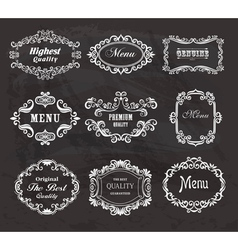 Set of vintage frames on the chalkboard vector image