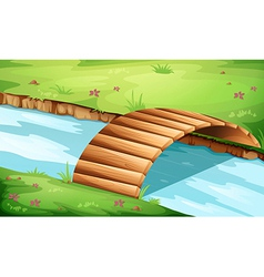 A wooden bridge at the river vector
