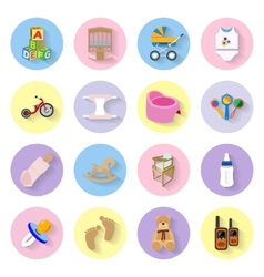 Baby and kids flat icons set vector