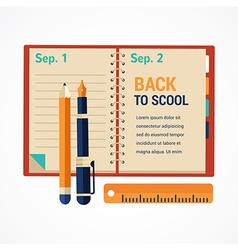 Back to school diary notebook background vector image