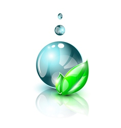 Dark blue water droplet with green leaves vector