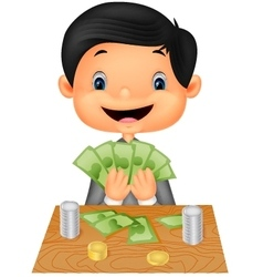 Cartoon boy counting the money vector