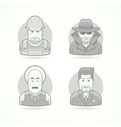 Worker spy musician and suit man icons avatar vector