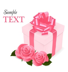 Pink roses and gift box vector